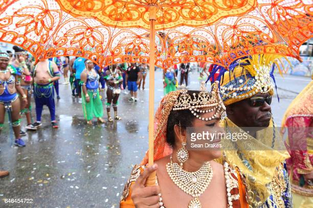 Masqueraders with Trini Revellers present 'Under The Arabian Skies' in the Queen's Park Savannah during Trinidad Carnival on February 28, 2017 in...