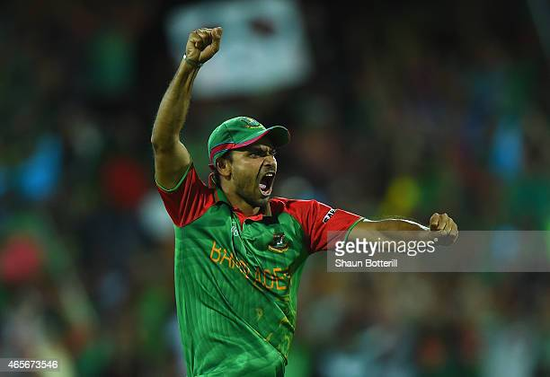 Masrafe Bin Mortaza of Bangladesh celebrates during the 2015 ICC Cricket World Cup match between England and Bangladesh at Adelaide Oval on March 9,...