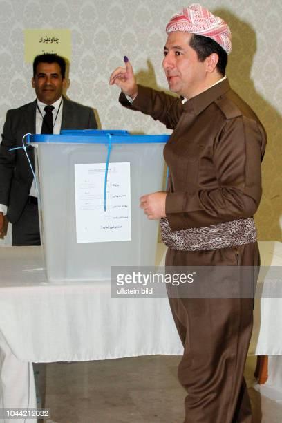 Masrour Barzani bei der Abstimmung über die Unabhängigkeit Kurdistans in Erbil