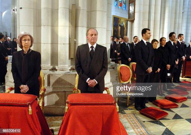 Mass at Almudena cathedral in Madrid in memory of the 202 victims of the March 11 bombing Queen Sofia King Juan Carlos and Prince Felipe of Spain...