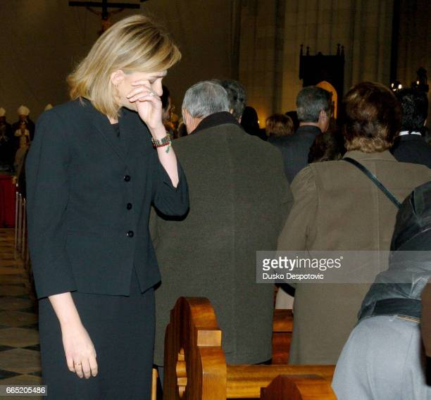 Mass at Almudena cathedral in Madrid in memory of the 202 victims of the March 11 bombing Infante Cristina of Spain touched during the mass  ...