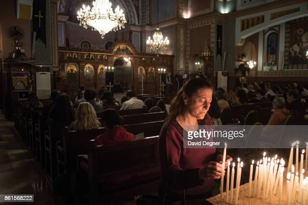 Mass at the Arch Angels Greek Orthodox Church near Ramsis during Holy Week on April 13 2017 in Cairo Egypt