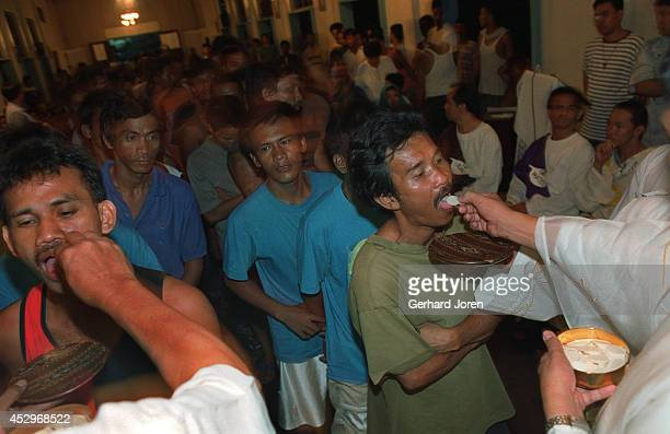 Mass at the Jail Chapel during the Easter Week. On Good Friday 200 inmates perform self flagellation. The ritual is to show repent for their crimes...