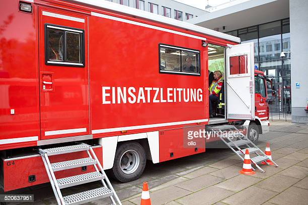 mass casualty drill - einsatzleitung, incident command - international firefighters day stock pictures, royalty-free photos & images