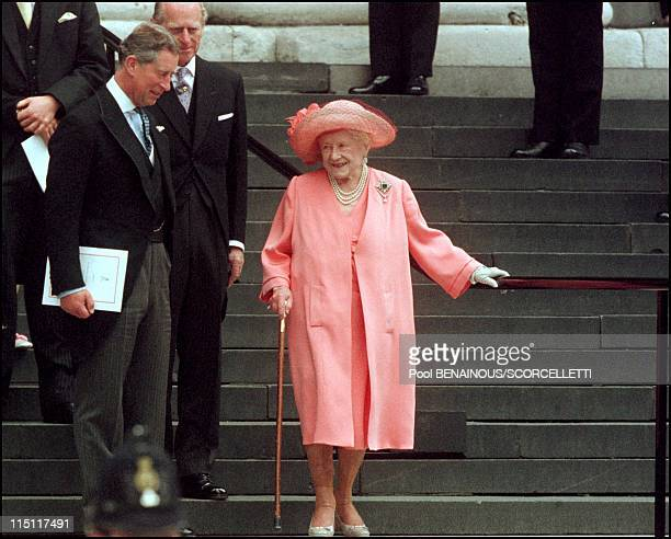 Mass celebrated at St Paul's cathedral in honour of the 100th birthday of Queen Mother in London United Kingdom on July 11 2000 Queen mother and...
