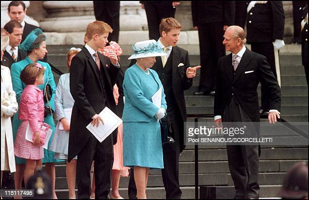 Mass celebrated at St Paul's cathedral in honour of the 100th birthday of Queen Mother in London United Kingdom on July 11 2000 Royal family