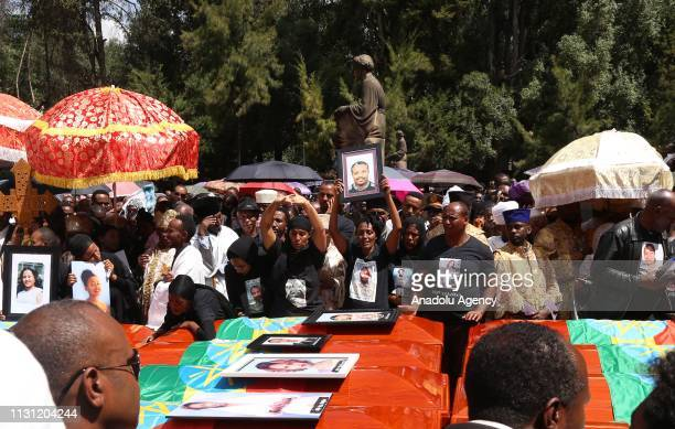Mass funeral ceremony is held for the Ethiopian Air crash victims at the Holy Trinity Cathedral in Addis Ababa Ethiopia on March 17 2019 A Boeing 737...