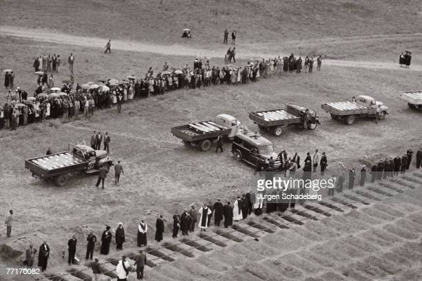 A mass funeral for victims of the Sharpeville massacre 1960 69 people were killed when the Sharpeville police opened fire on a crowd of protestors...