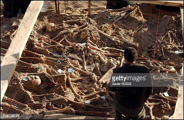 Mass grave containing remains of Napoleonic soldiers discovered in Vilnius, France on April 04, 2002.