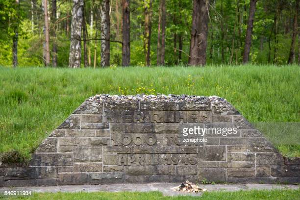 mass grave memorial bergen-belsen - mass graves stock photos and pictures