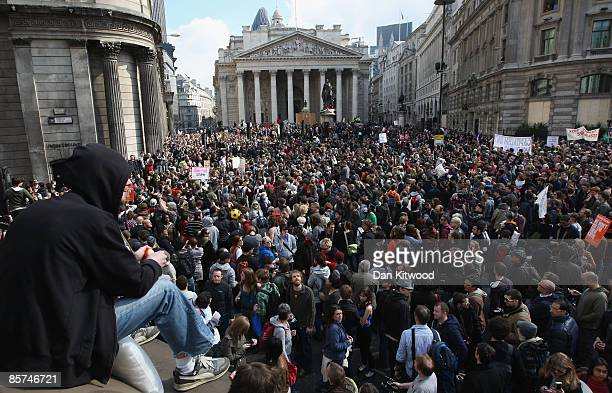 Mass group of anti capitalist and climate change activists converge on the Bank of England as they demonstrate in the City on April 1, 2009 in...