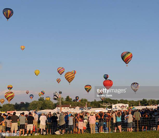 Mass Hot Air Balloon Ascension at the 33rd Annual Quick Chek New Jersey Festival Of Ballooning Day 1 at Solberg Airport on July 24 2015 in Readington...
