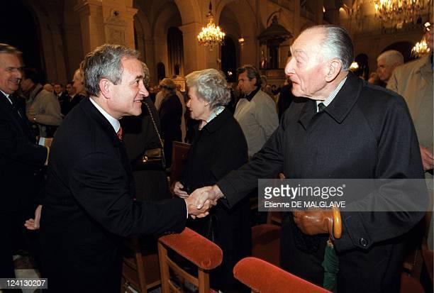 Mass in Paris to celebrate the 30th anniversary of Charles de Gaulle's death In Paris France On November 08 2000 Jean Tiberi General Alain de Boissieu