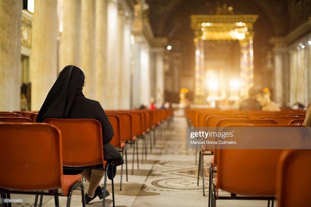 Mass in San Giovanni Laterano basilica, Rome Italy : Stock Photo