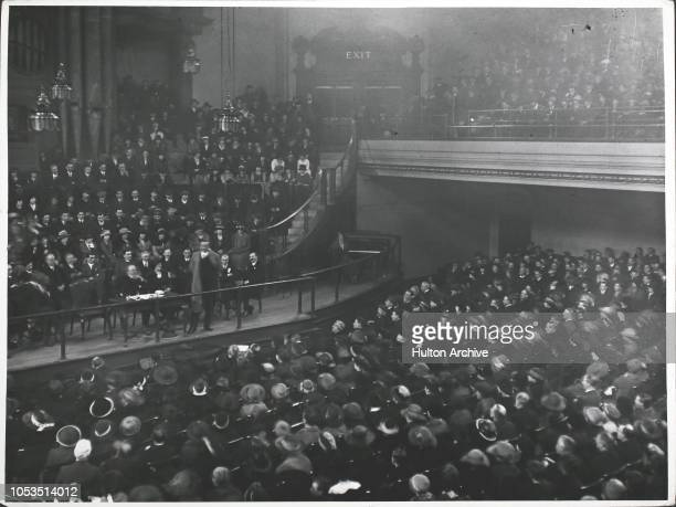 Mass meeting at Caxton Hall in London during a strike at the Army & Navy Stores, 4th December 1919.