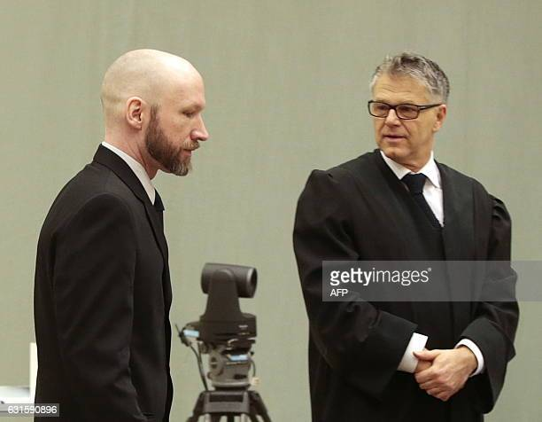 Mass murderer Anders Behring Breivik and his lawyer Oystein Storrvik are pictured on the fourth day of the appeal case in Borgarting Court of Appeal...