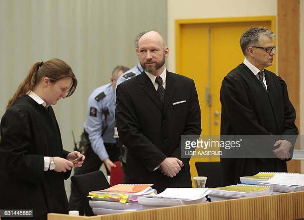 Mass murderer Anders Behring Breivik is pictured on the second day of his of hearing of appeal in Borgarting Court of Appeal at Telemark prison in...