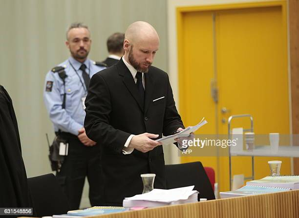 Mass murderer Anders Behring Breivik is pictured on the third day of the appeal case in Borgarting Court of Appeal at Telemark prison in Skien on...