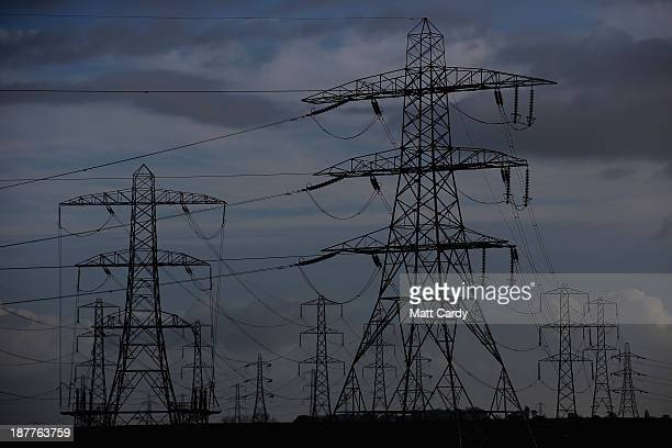 A mass of electricity pylons are seen from Hinkley Point nuclear power station near Bridgwater on November 12 2013 in Somerset England EDF who last...