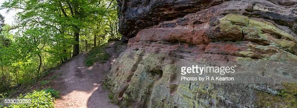 Mass of graffiti on the sandstone rocks at Alderley edge, Cheshire