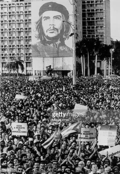 A mass rally in Revolution Square Havana Cuba to pay tribute to twenty four Cubans who were killed during the American invasion of Grenada A large...