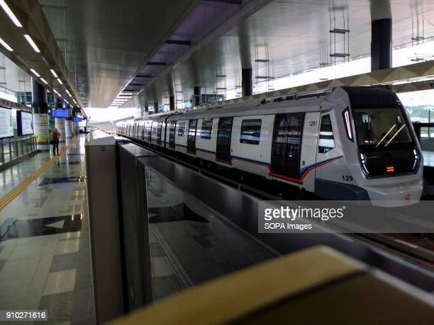 Mass Rapid Transit is seen arriving at a station Kuala Lumpur or commonly known as KL is the national capital for Malaysia and is the fastest growing...