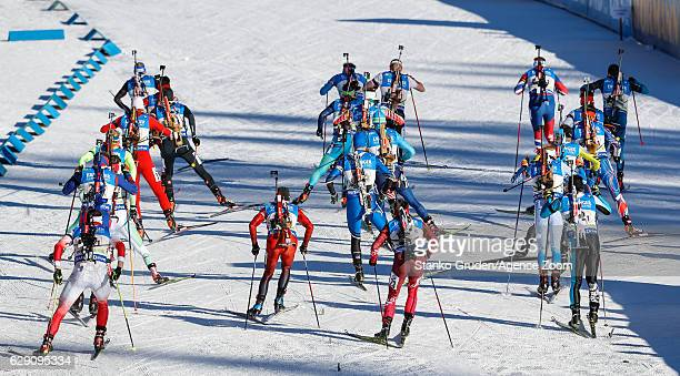 Mass Start A general view during the IBU Biathlon World Cup Men's and Women's Relay on December 11 2016 in Pokljuka Slovenia