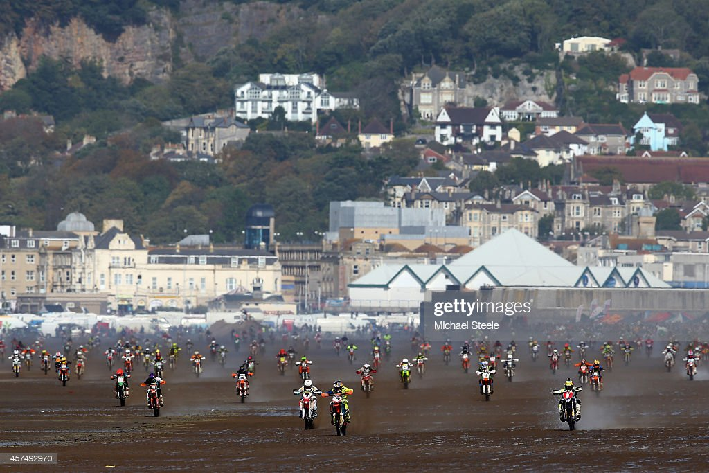 Mass start along the beach straight in the adult solo race of the 32nd running of the RHL Weston Beach Race on October 19, 2014 in Somerset, United Kingdom.