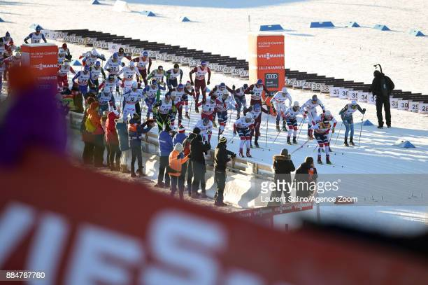 Mass start during the FIS Nordic World Cup Men's and Women's Cross Country Skiathlon on December 3, 2017 in Lillehammer, Norway.