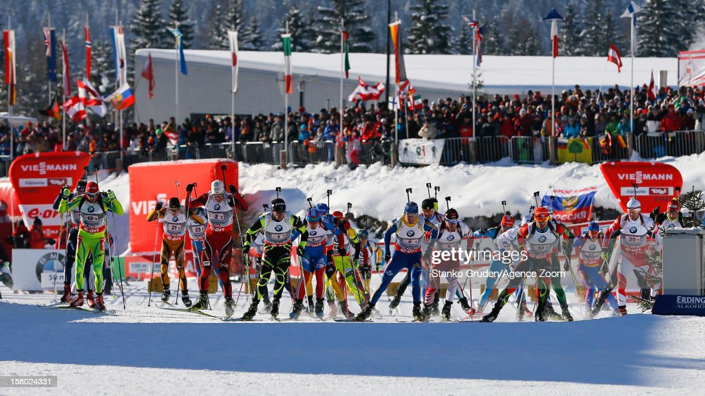 Mass start during the IBU Biathlon World Cup Men's Relay on December 9, 2012 in Hochfilzen, Austria.