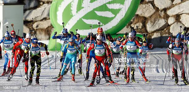 Mass start during the IBU World Cup Biathlon Men's 15 km Mass Start on January 22 2011 in AntholzAnterselva Italy
