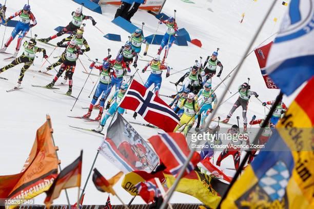 Mass start during the IBU World Cup Biathlon Women's 12.5 km Mass Start on January 23, 2011 in Antholz-Anterselva, Italy.