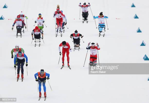 Mass start of the 4x25km mixed relay during day nine of the PyeongChang 2018 Paralympic Games on March 18 2018 in Pyeongchanggun South Korea