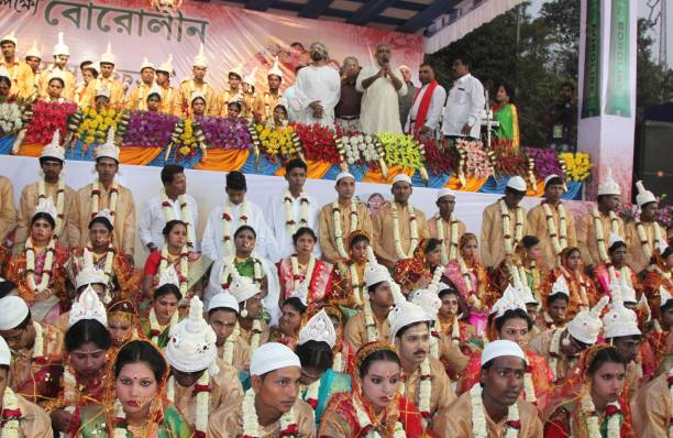 Mass wedding ceremony on the occasion for Valentine's day on Friday 142017 in KolkataIndia