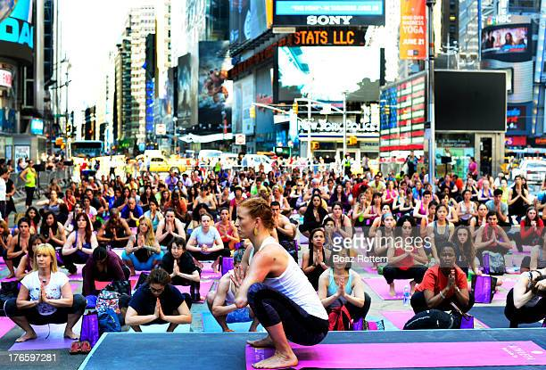 Mass Yoga session in Times sq. In New York city, USA.