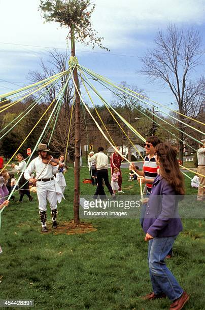 Massachusetts Amherst Morris Dancers Going Around The Maypole