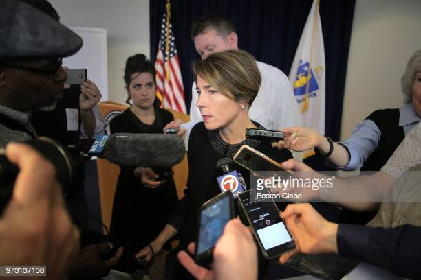 Massachusetts Attorney General Maura Healey talks with media in Boston on June 12 2018 after the announcement of a lawsuit against Purdue Pharma...