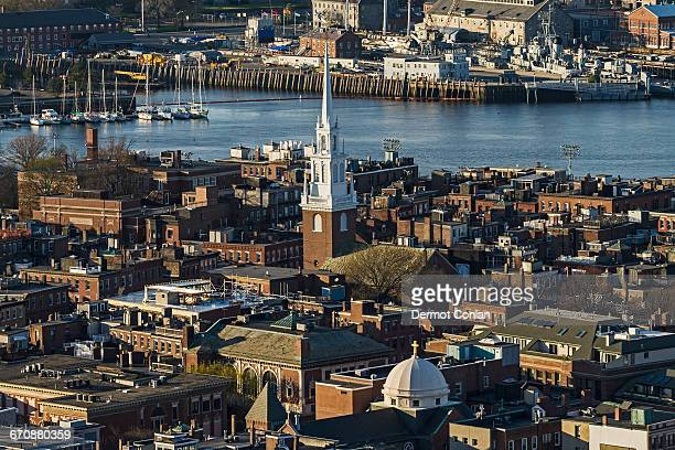 Massachusetts, Boston, Aerial view of North End and Charlestown areas
