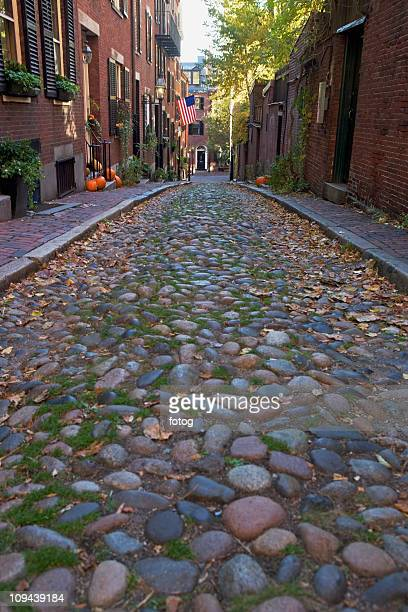 USA, Massachusetts, Boston, Beacon Hill, cobblestoned alley