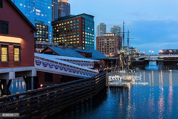 usa, massachusetts, boston, buildings along fort point channel - boston tea party stock photos and pictures