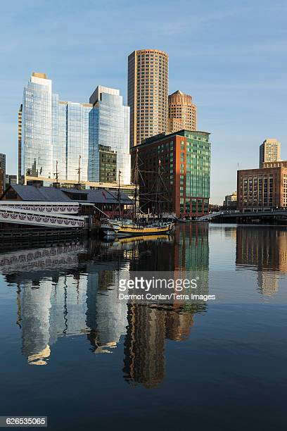 USA, Massachusetts, Boston, Buildings reflecting in canal