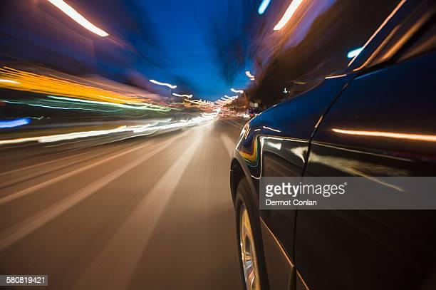 USA, Massachusetts, Boston, Car speeding through street