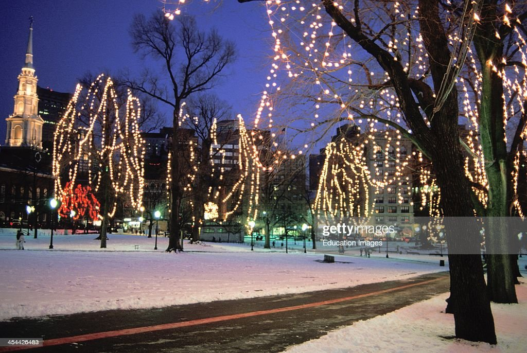 Massachusetts boston common christmas lights and snow pictures