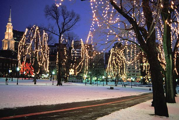Massachusetts boston common christmas lights and snow pictures massachusetts boston common christmas lights and snow sciox Images