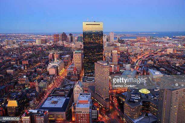 Massachusetts, Boston, Elevated view of Boston skyline at dusk
