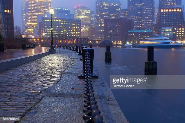 USA, Massachusetts, Boston, Fan Pier, Waterfront on rainy evening