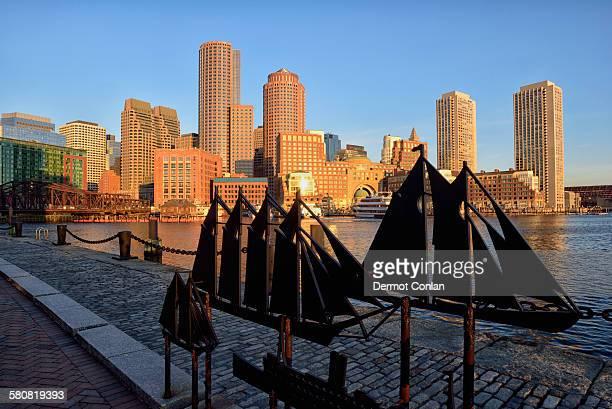 USA, Massachusetts, Boston, Financial district at sunrise from Fan Pier
