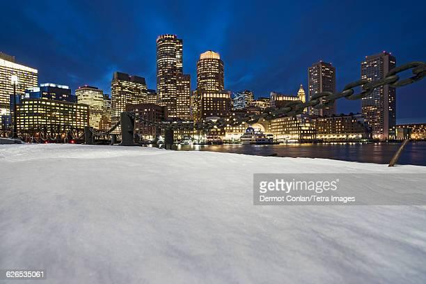 USA, Massachusetts, Boston, Illuminated buildings by canal