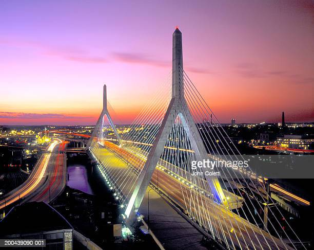 USA, Massachusetts, Boston, Leonard P. Zakim Bunker Hill Bridge, dusk
