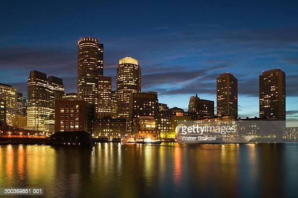 USA, Massachusetts, Boston, skyline, night